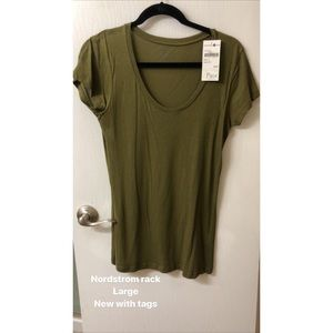 NWT, Nordstrom Rack, olive green top, L
